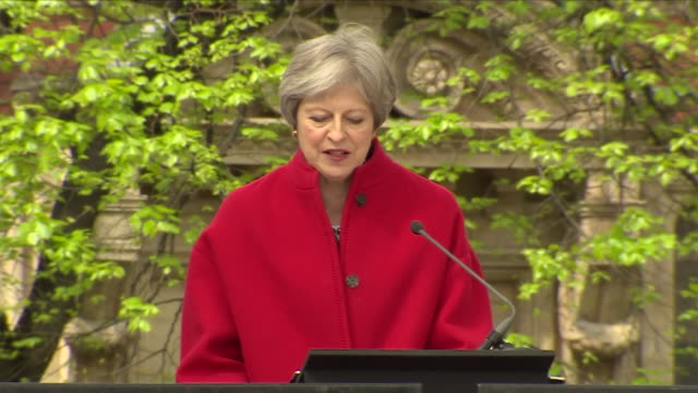 Exterior shots of Theresa May UK Prime Minister giving speech at the unveiling of Dame Millicent Fawcett Statue outside Parliament on 24 April 2018...