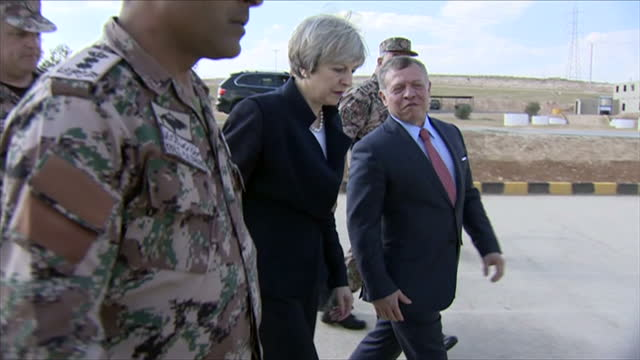 Exterior shots of Theresa May visiting a military base with King Abdullah II of Jordan meeting soldiers and looking at military equipment on April 03...