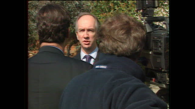 Exterior shots of Tim Smith MP for Beaconsfield being interviewed in his garden on March 20 1997 in Beaconsfield England