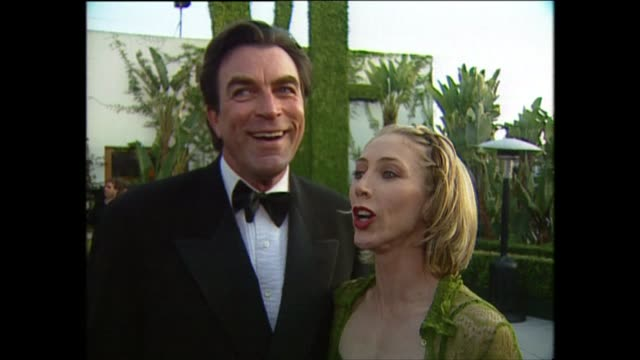 exterior shots of tom selleck and jillie mack speaking to the press on the red carpet for the 71st academy awards at the dorothy chandler pavilion on... - dorothy chandler pavilion stock videos and b-roll footage