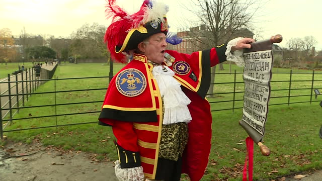 exterior shots of tony appleton unofficial royal town crier ringing his bell and posing for members of the public and the media outside kensington... - 2017 stock-videos und b-roll-filmmaterial