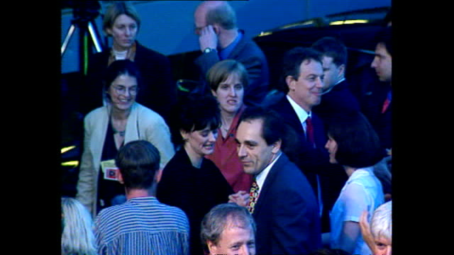 exterior shots of tony blair and cherie greeting cheering crowds with john and pauline prescott after labour's 1997 election victory on 2 may 1997 in... - 1997 stock videos & royalty-free footage