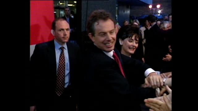 exterior shots of tony blair arriving at the royal festival hall after labour's 1997 eleciton victory greeting neil kinnock john pauline prescott... - royal festival hall stock videos and b-roll footage