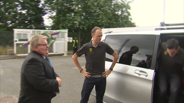 Exterior shots of Tour de France winner Chris Froome arriving at Sky Studios and interior shots of Chris Froome waiting in the lobby before being...