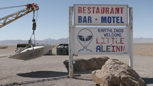 exterior shots of tourist attractions around 'area 51' including a 'little ale'inn' motel and model flying saucer on 11 june 2021 in rachel, nevada,... - saucer stock videos & royalty-free footage