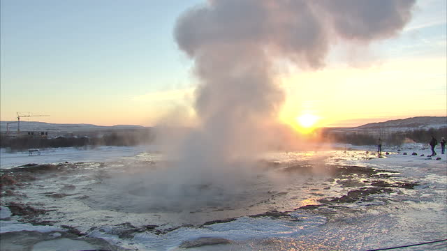 exterior shots of tourists watching geysers erupt>> on december 10 2015 in unspecified iceland - geyser stock videos and b-roll footage