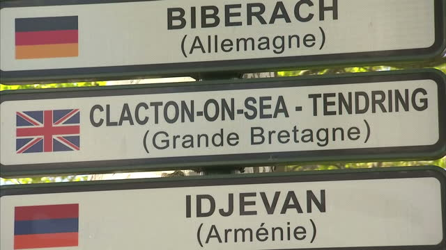 Exterior shots of town twinning signs in Valence showing the various towns around the world it is twinned with including Clacton on Sea in Essex on...