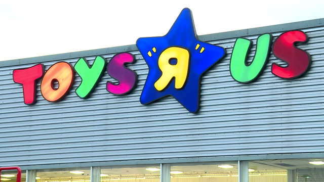 Exterior shots of Toys R Us store with CLOSING DOWN signs across store on February 23 2018 in London England