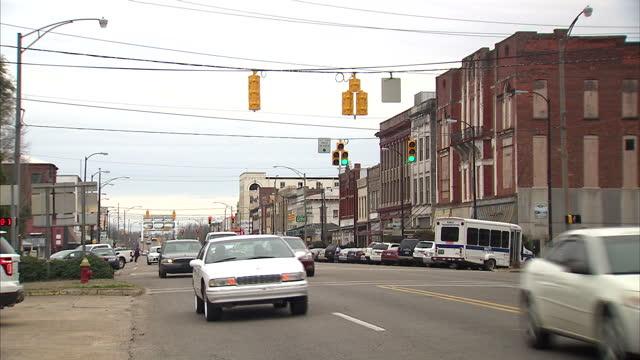 Exterior shots of traffic driving along a main road in Selma near the Edmund Pettus Bridge>> on March 07 2015 in Selma Alabama