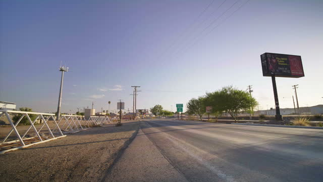 Exterior shots of traffic near the Arizoza border with the Mexican town of Los Algodones on 11 July 2017 in Yuma United States