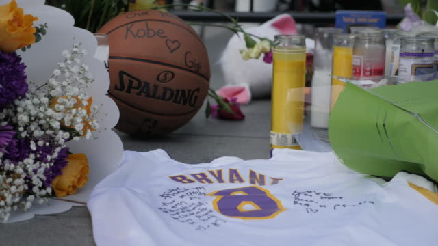 exterior shots of tribute to kobe bryant in front the of the staples centre on 27th january 2020 in los angeles united states - kobe bryant stock videos & royalty-free footage