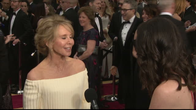 Exterior shots of Trudie Styler speaking to reporters on the Oscars red carpet about her husband Sting being due to give a performance during the...