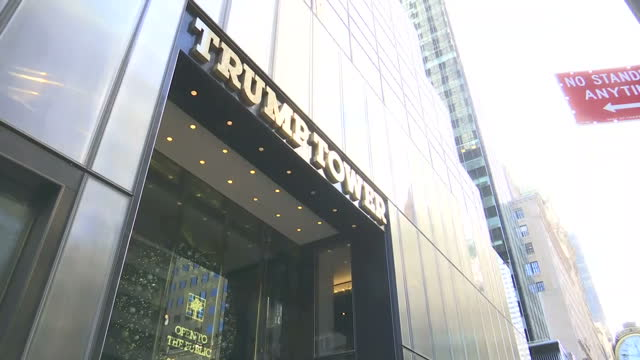 exterior shots of trump tower building and interior shots of anonymous suits walking into the elevator on november 22 2016 in new york united states - tower stock videos & royalty-free footage