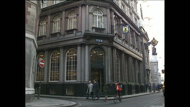 Exterior shots of TSB bank at Lombard Street and a close up shot of a gold castle logo on January 26 1989 in London England
