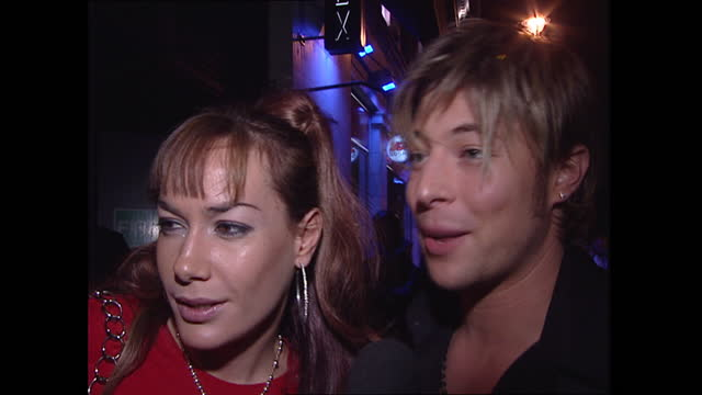 exterior shots of tv personality tara palmer-tomkinson and singer duncan james from boy band blue arriving at britney spears brithday party and... - boy band stock videos & royalty-free footage