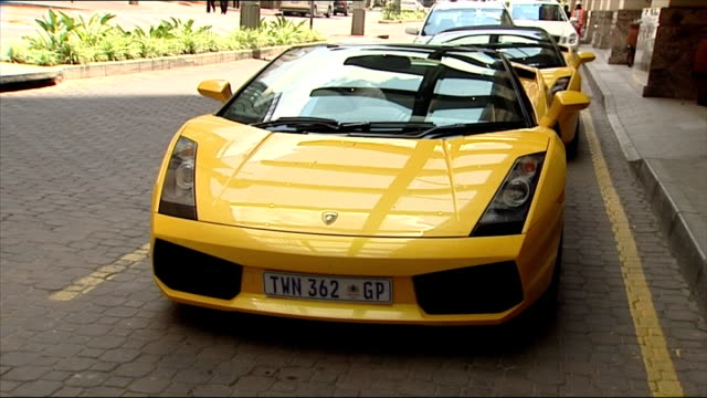Exterior shots of two matching Lamborghini supercars parked outside a hotel in Sandton on December 05 2007 in Sandton South Africa