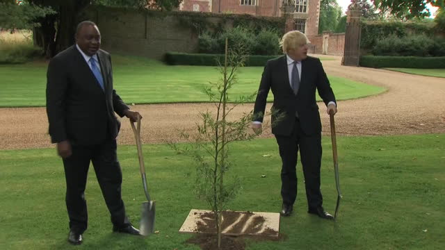 exterior shots of uk prime minister boris johnson and kenya president uhuru kenyatta at chequers, the country house of the prime minister, walking... - plant stock videos & royalty-free footage