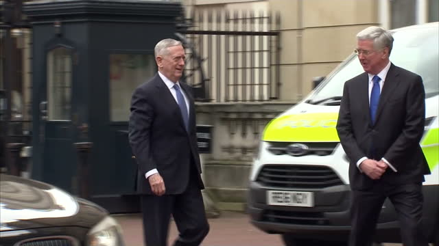 Exterior shots of UK Secretary of State for Defence Michael Fallon greeting his US counterpart James Mattis outside Lancaster House on March 31 in...