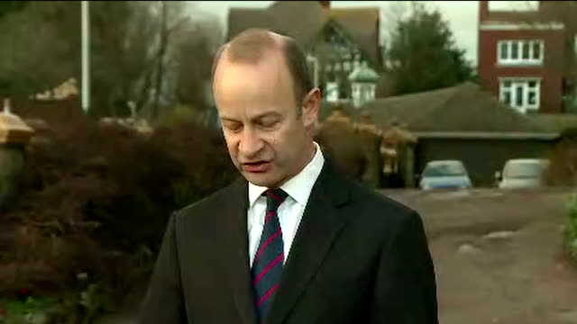 Exterior shots of UKIP leader Henry Bolton walking from a building and giving a statement to the media refusing to stand down as leader on 22 January...