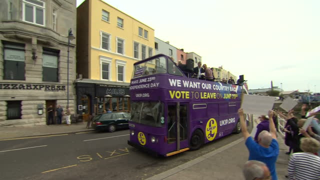 exterior shots of ukip leader nigel farage getting on ukip vote to leave campaign bus and departing ramsgate on june 13 2016 in ramsgate united... - ramsgate stock videos & royalty-free footage