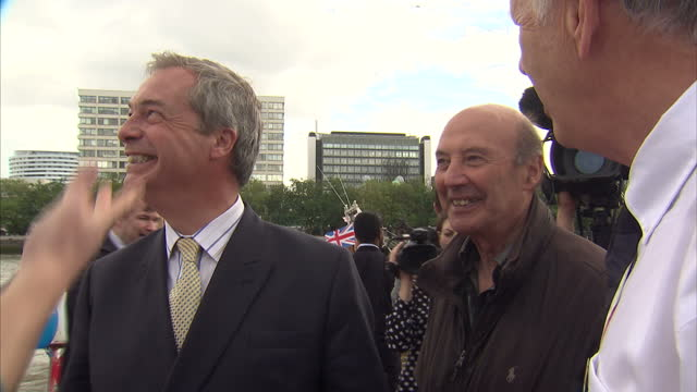 exterior shots of ukip leader nigel farage mp campaigning for fishing for leave on june 15 2016 in london united kingdom the campaigns for the... - 2016 european union referendum stock videos and b-roll footage