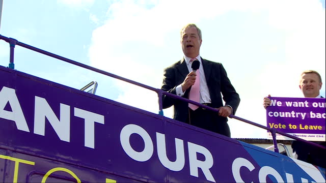 exterior shots of ukip leader nigel farage on top of the ukip battlebus making a speech to supporters in favour of leaving the eu on may 23 2016 in... - referendum stock videos & royalty-free footage