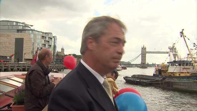 exterior shots of ukip leader nigel farage shouting at fishermen on other boats whilst on vote leave campaign for the fishing industry on june 15... - 2016 european union referendum stock videos and b-roll footage