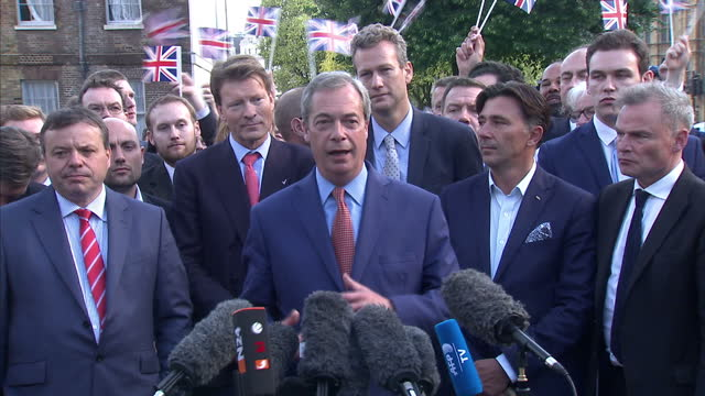 exterior shots of ukip leader nigel farage speaking to crowds outside westminster after success for the vote leave campaign in the eu referendum on... - nigel farage stock-videos und b-roll-filmmaterial