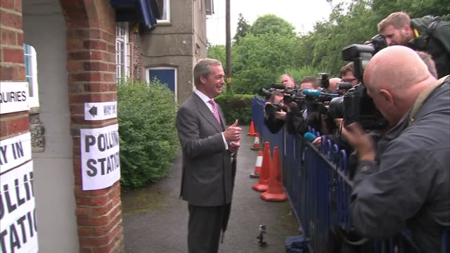 exterior shots of ukip leader nigel farage walking from polling station and speaking to press after casting his vote on june 23, 2016 in biggin hill,... - biggin hill stock videos & royalty-free footage