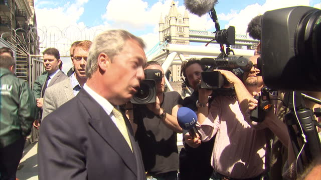 exterior shots of ukip leader out campaigner nigel farage campaigning in london for fishing for leave on june 15 2016 in london united kingdom the... - 2016 european union referendum stock videos and b-roll footage
