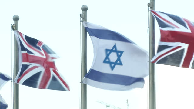 Exterior shots of Union Jack and Israeli flags flying outside the Knesset before a visit by the British House of Commons Speaker John Bercow on 13...