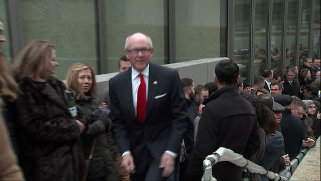 Exterior shots of US ambassador to the UK Robert Johnson attending a flag raising ceremony at the new US embassy in London>> on January 16 2018 in...