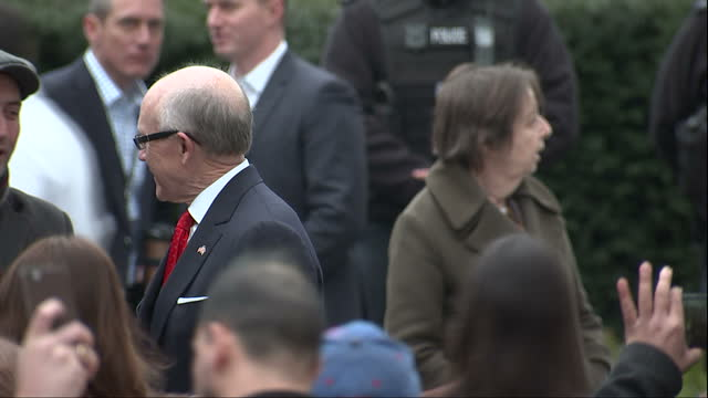 Exterior shots of US ambassador to the UK Robert Johnson speaking to guests after a flag raising ceremony at the new US embassy in London including...
