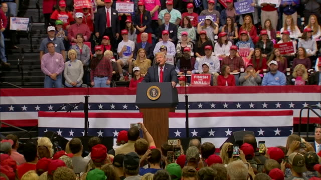 exterior shots of us president donald trump end of speech at campaign rally for republican senate candidate marsha blackburn at the university of on... - university of tennessee stock videos and b-roll footage