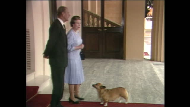 stockvideo's en b-roll-footage met exterior shots of us president george h w bush and barbara bush departing buckingham palace, being seen off by queen elizabeth ii and prince philip,... - 1980 1989