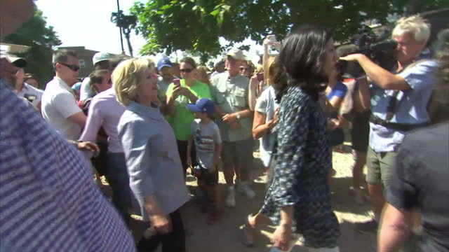 exterior shots of us presidential candidate hillary clinton walking and waving to crowds of well wishers on a visit to the iowa state fair on august... - agricultural fair stock videos & royalty-free footage