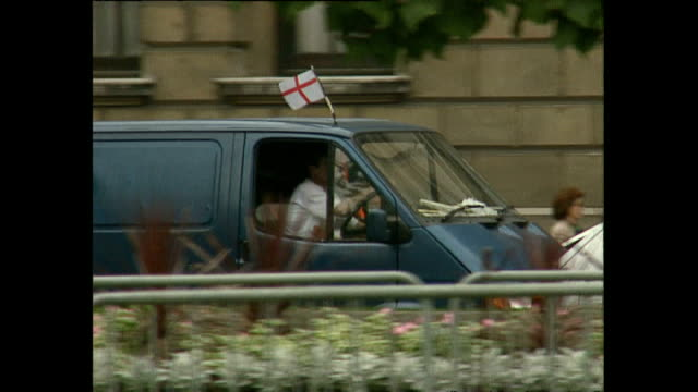 exterior shots of various cars and london taxi's, black cabs, driving around with england flags during the football world cup in france 1998 on june... - international team soccer stock videos & royalty-free footage