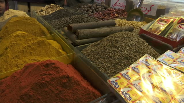 Exterior shots of various spices on sale on a Mosul market stall including tumeric on 24 March 2017 in Mosul Iraq