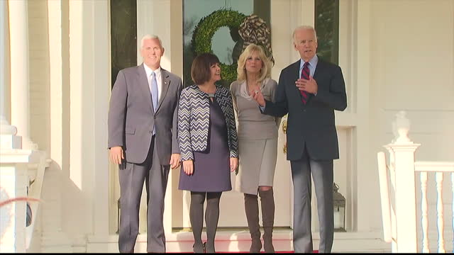 Exterior shots of Vice President Joe Biden and his wife Dr Jill Biden with Vice Presidentelect Mike Pence and his wife Karen at the Naval Observatory...
