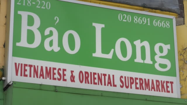 exterior shots of vietnamese store fronts on 27 october 2019 in mile end, london, england. - vietnam stock videos & royalty-free footage