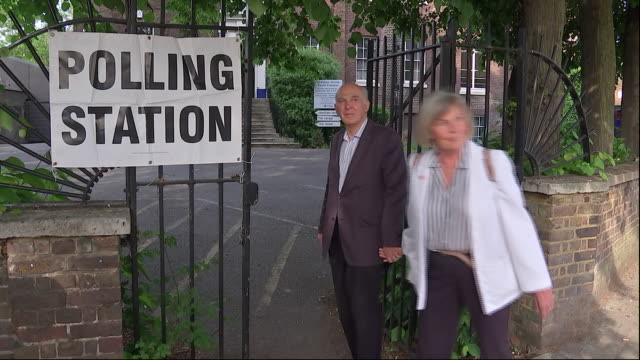 exterior shots of vince cable and wife rachel smith walking into and out of a polling station during voting in the european elections on 23 may 2018... - british liberal democratic party stock videos and b-roll footage