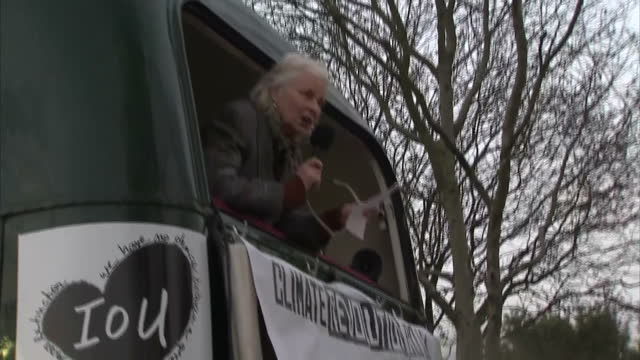 Exterior shots of Vivienne Westwood speaking after a demonstration by her son Joe Corre referencing a map displayed on the side of the boat where he...