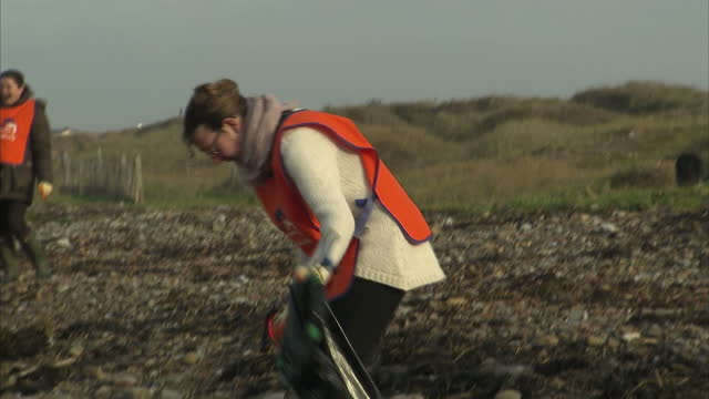 stockvideo's en b-roll-footage met exterior shots of volunteers from the marine conservation society picking up rubbish from an overcast beach at weston super mare on january 24 2017... - afvalverwerking