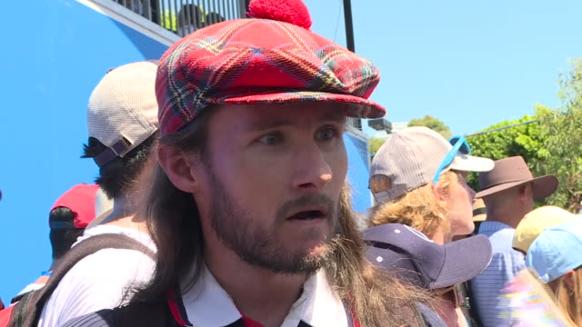 vídeos y material grabado en eventos de stock de exterior shots of voxpops with scottish fans speaking about coming to watch andy murray at the australian open and his career on 14 january 2019 in... - vox populi