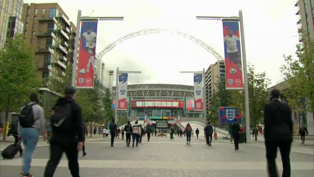 exterior shots of wembley stadium, england's national football stadium in on 7 september 2019 in london, england. - wembley stadium stock videos & royalty-free footage