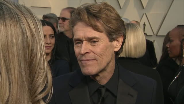 exterior shots of willem dafoe interview on the red carpet of the 91st academy award on 24th february 2019 in los angeles united states - アカデミー賞点の映像素材/bロール
