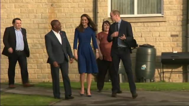 exterior shots of william and kate the duke and duchess of cambridge at barnsley's local centrepoint hostel on 14 november 2018 in barnsley united... - visit stock videos & royalty-free footage