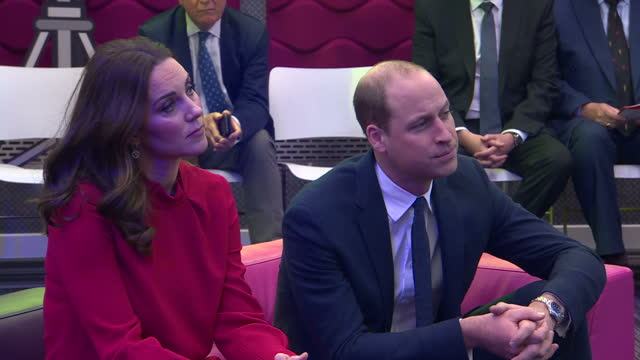 Exterior shots of William Catherine sat on sofa watching teenagers in question answer session at the Children's Global Summit on 6 December 2017 in...