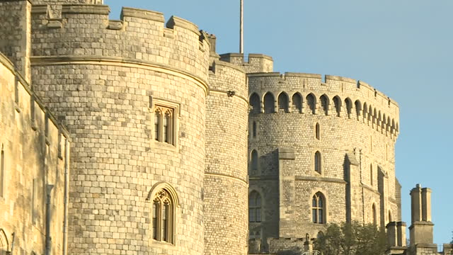 exterior shots of windsor castle on clear sunny christmas day including queen victoria statue and christmas tree outside the castle, king and queens... - berkshire england stock videos & royalty-free footage