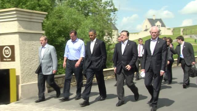 exterior shots of world leaders walking on g8 summit resort including david cameron barack obama jose barroso herman van rompuy world leaders come... - global leadership stock videos & royalty-free footage